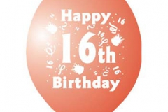 printed 16th birthday assorted colours
