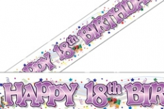 18th pink paper banner 2 mtr x 32 cm