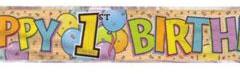 1st birthday foil banner 3.65mtr
