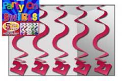 21st magenta hanging swirl decoration 60cm pkt 5