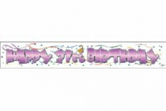 21st pink paper banner 2mtr x 32cm
