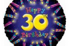 30th candles birthday foil
