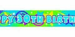 30th foil bright colour banner 3.65mtr x 12cm