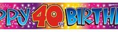 40th foil banner 3.65cm x 12cm