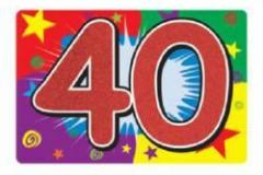 40th glitter sign 25cm x 38cm