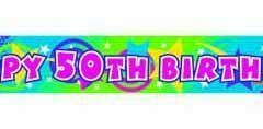 50th foil banner 4.5m x 12.7cm