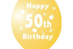 printed 50th birthday assorted colours