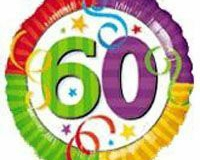 60th bright colour 45cm foil balloon
