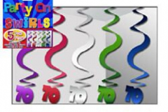 70th multi colour hanging swirl 60cm pkt 5