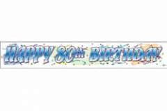 80th Birthday Banner Giant Blue