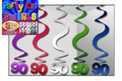 90th Hanging Swirls  Assorted (Blue, Purple, Magenta, Green & Silver) - Pack of 5