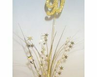 90th Spray Foam Stars Gold 3D glittered number (61cm)