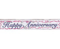 Foil happy anniversary banner