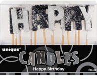 Black glitz happy birthday candles