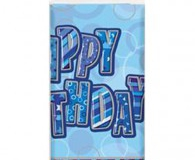 Blue glitz happy birthday plastic tablecloth