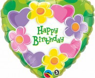 Hearts and flowers 45 cm foil balloons q99110