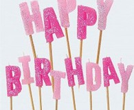 Pink glitz happy birthday candles