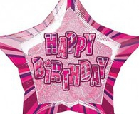 Pink glitz star shape 45 cm foil balloon m55101