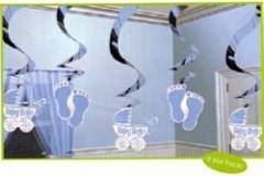 Blue swirl decoration 60cm pkt 5