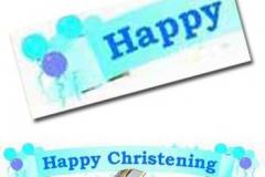 blue christening paper banner
