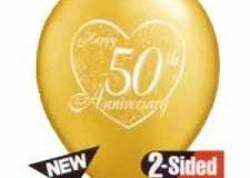 50th Anniversary heart print balloons