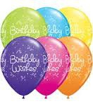 Birthday wishes print assorted coloured balloons
