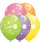 Get well print assorted coloured balloons