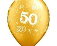 Gold 50th anniversary print balloon