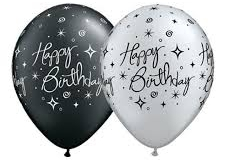 Happy birthday print black and silver balloons