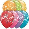 Heart print assorted coloured balloons