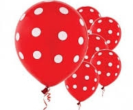 Red and white polka dot balloons
