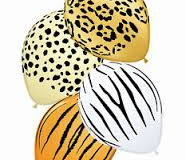 Safari animal print assorted coloured balloons