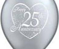 Silver 25th anniversary print balloons