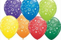 Swirling star print coloured balloons