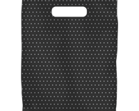 PL6 Black Silver Dot  380mm (High) x 250mm (Wide) Nil Gusset These feature a Die Cut handle and are packed in units of 100