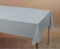 Silver rectangle plastic tablecloth