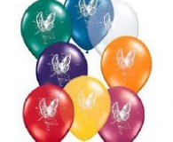 Fair print multi coloured latex balloons