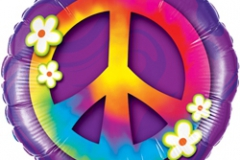 45cm Peace Sign & Daises Foil Balloon (Self sealing balloon, requires helium inflation) - Each