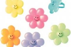 Flower Rings Plastic (35mm Diameter) Assorted Colours