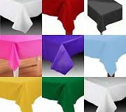 Assorted coloured rectangle plastic tablecloth