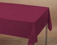 Burgandy or maroon coloured rectangle tablecloth