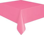 Hot pink or fuchsia coloured rectangle tableclothjpg