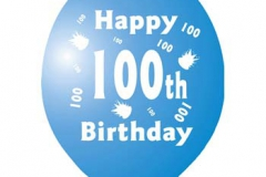 printed 100th birthday assorted colours