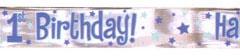 1st birthday blue foil banner