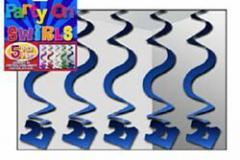 21st blue swirl hanging decoration 60cm pkt 5