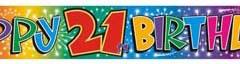21st foil banner 3.65mtr x 15cm