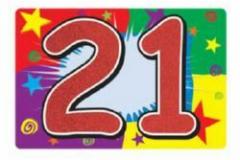 21st glitter number sign 25cm x 38cm
