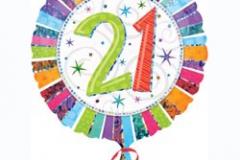 21st multi colour foil balloon