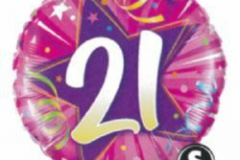 21st pink foil balloon
