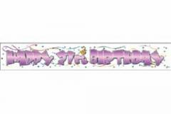 21st pink paper banner 2mtr x 32cm